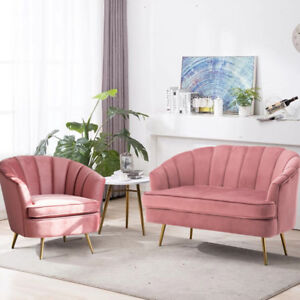 Pink Velvet Accent Tub Chair 2 Seat Sofa Couch 1 2 Nordic