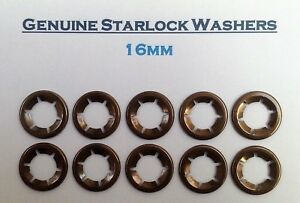 Starlock Washers Speed Grab Push On Lock Flower Retaining Clips 16MM pkt of 10
