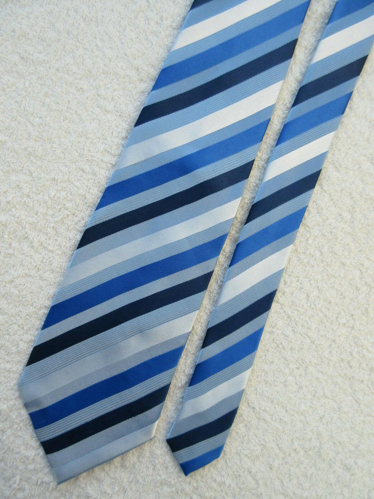 BLUE WHITE STRIPED 4 inch polyester necktie TIE by GEORGE