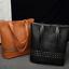 Fashion Women Leather Three-layers Rivets Handbag Shopping Large Tote Purse Bags