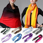 Women Tassels Long Wool Scarf Pashmina Stole Winter Gradient Color Shawl Wrap