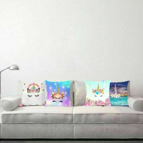 Unicorn Pillow Case Soft Polyester Sofa Cushion Cover Throw Kids Home Decor Csy