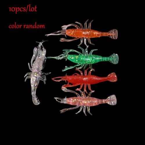 10 PCs Color At Random 8cm Hummer-Typ Soft Shrimp Köder Leuchtend Angelköder