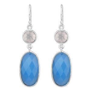 545f3c6b3 Image is loading 925-Sterling-Silver-blue-Chalcedony-rose-Quartz-gemstone-