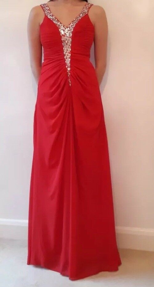 Beautiful Red Prom Dress or Evening Gown. Size 10