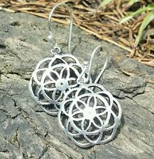 Sacred Geometry Silver Plate Flower / Seed of Life Small Concave Earrings 20mm