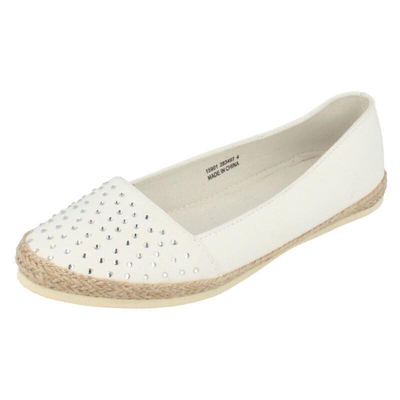 15r901- Donna Spot On Bianco Slip Ons- Diamante Dettaglio Ottimo Prezzo