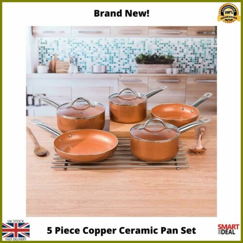 Salter 5 Piece Ceramic Pan Set Saucepan Frying Pan Non Stick Cooking Kitchen NEW
