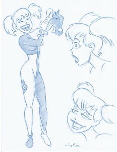 Harley-Quinn-Convention-Blue-Line-Sketch-by-Batman-Animator-Art-Drawing