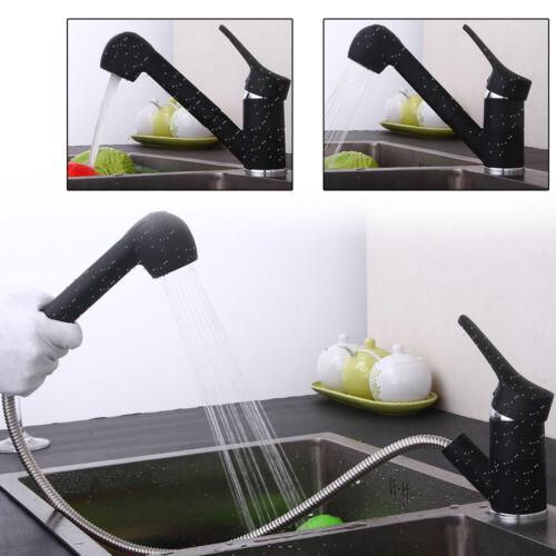 360 Grad Drehbar Wasserhahn Küchenarmatur Ausziehbare Hoher Druck Matt Gebürstet
