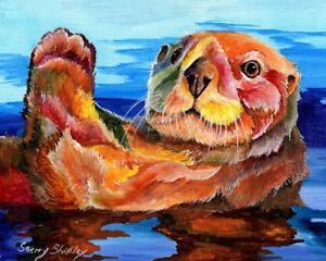 SEA-OTTER-8X10-Print-from-Artist-Sherry-Shipley