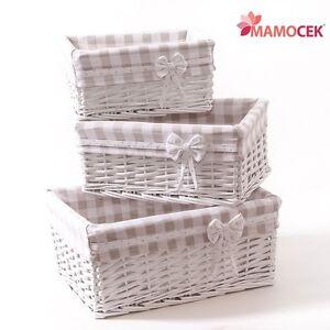 Cesto cestino vimini bianco beige contenitore armadio for Cestini shabby