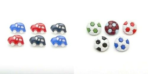 10 x Baby Toy Car Or Football Buttons Assorted Colours Shank Back 14mm Approx.
