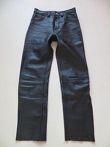 Levi-039-s-Biker-Lederhose-Leder-Jeans-Hose-W-28-L-30-schwarz-USED-Sammlerstueck