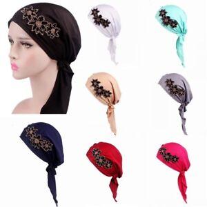 694dc98c1cdb7 Turban Pre Tied Beanie Cap Women Beads Fower Headscarf Hair Loss ...