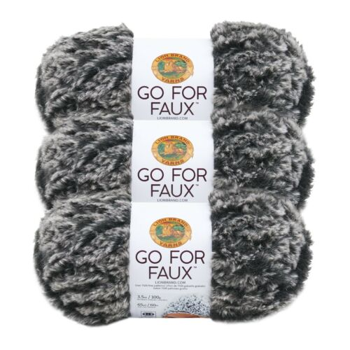 Mink Pack of 3 Skeins Lion Brand Yarn 322-200 Go for Faux Yarn