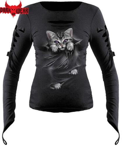Spiral Direct BRIGHT EYES Long Sleeve Slashed Glove//Cat//Kitten//cute kitten//Top