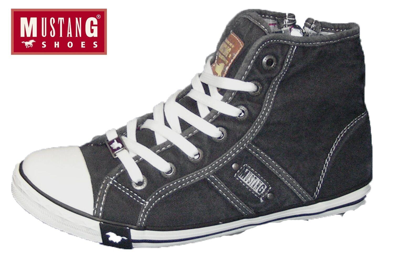 MUSTANG Damen Turnschuhe Schwarz High Top Schuhe Canvas Stiefelette 1099-502-9