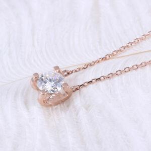 5c797230e1e7 18k Rose Gold Over .60ct Round Cut Diamond Solitaire Pendant 18 ...