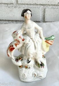 Beautiful-Antique-Staffordshire-Figure-Lady-w-Arm-Around-Her-Dog-19th-Century