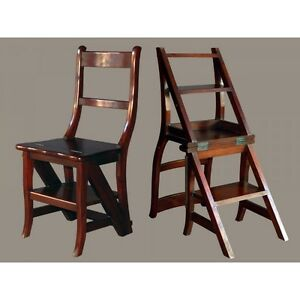 Trittleiter Holz leiterstuhl mahagoni massiv lackiert klappstuhl trittstuhl