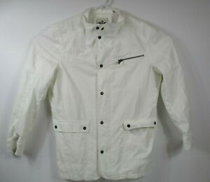 EXPRESS-Mens-Sz-XL-Sharp-Solid-White-Zip-amp-Button-Jacket-506587-Med-Weight