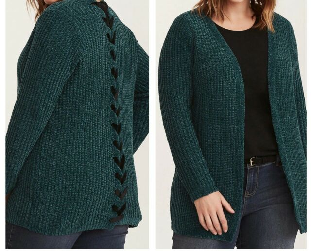 Torrid Green Chenille Lace up Back Cardigan 3x 22 24  95474  3d501ef00