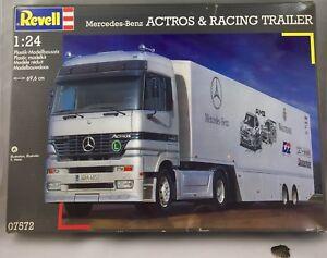 Maquette Maquette Modèle Mercedes Benz Actros Et Remorque Course Revell 1/24 7572