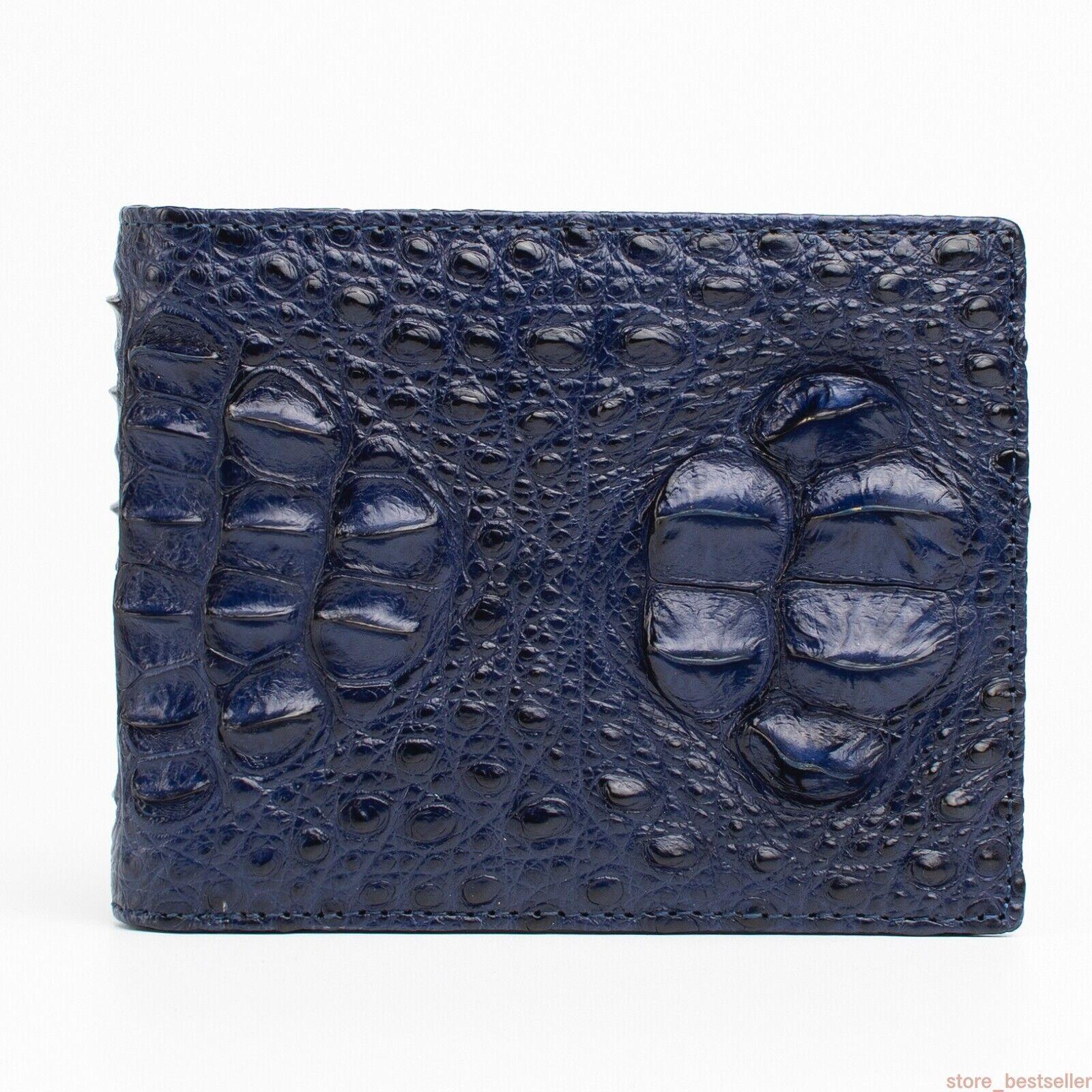 Alligator Crocodile Leather Skin Men's Bifold Wallet DOUBLE SIDE Dark Blue #0603