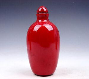 Asian Antiques Devoted Antigüedad Monocromo Ox-bood Rojo Vidriado Porcelana Tabaco Botellas #07181702 Other Asian Antiques