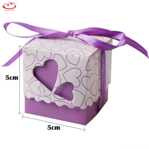 50//100 Pcs Love Heart Favor Ribbon Gift Box Candy Boxes Wedding Party Decor