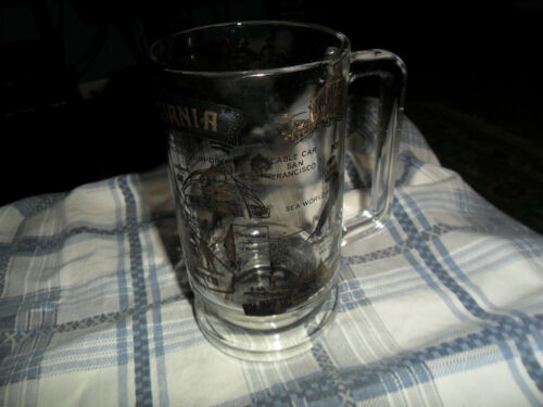 Vintage CALIFORNIA TRAVEL DESTINATION Glass Mug Stein Collector