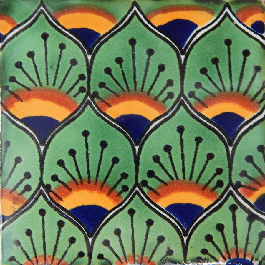 C154- Mexican Handmade Talavera Clay Tile Folk Art 4x4