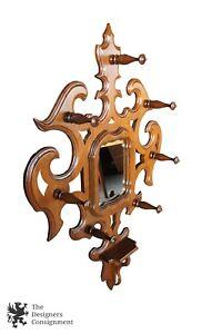 Antique Victorian Walnut Hall Tree Wall Hanging Mirror