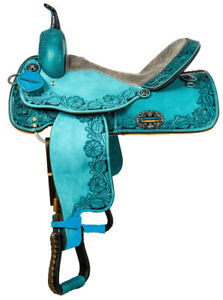 Premium-Leather-Beautiful-Western-Barrel-Racing-Horse-Saddle-Tack-Size-14-to-18