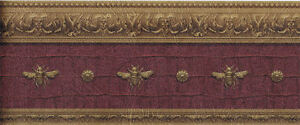 Architectural-Napolonic-Bee-Wallpaper-Border-in-Burgundy-LL081113B