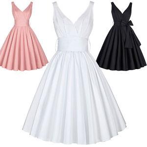 Nuevo-Vintage-Mujer-Clasico-Estilo-Anos-50-elastico-plisado-Graduacion-Coctel