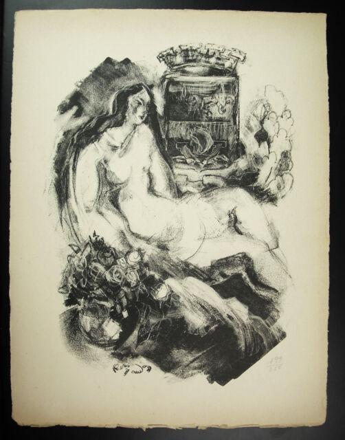 René Saudon Naked Woman And Roses Art Modern Cubism Engraving Num 199/250 c1947