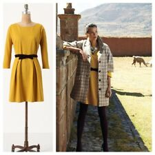 Anthropologie Fluted Ponte Dress by Girls From Savoy Size XS Golden Yellow EUC