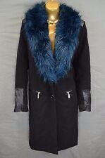 RIVER ISLAND black smart jacket with blue fur collar & faux leather trim UK 12