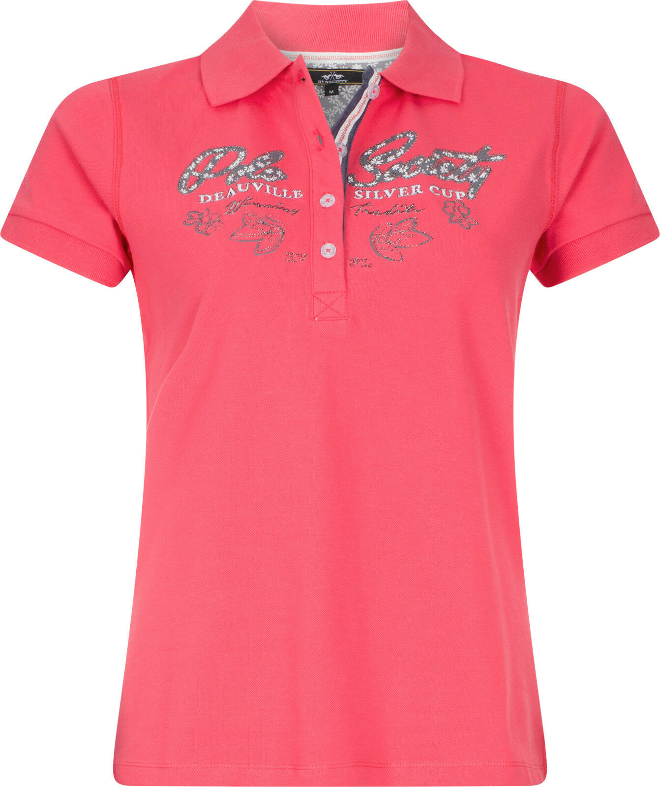 HV polo señora Polo-Shirt Brunelle Raspberry Print + lurex-bordados