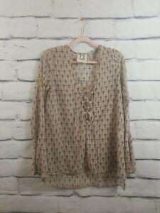 PQLA Pplac Clothing Women's Size Medium Semi Sheer Lace Up Boho Top Long Sleeve