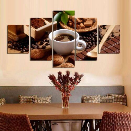 Chocolate Coffee Poster Food Wall Art Kitchen Decor 5 pcs Canvas print UnFramed