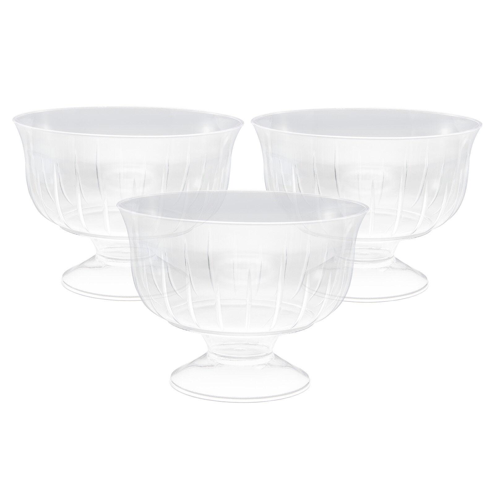 144 X Plastica Trasparente GELATO DESSERT porzione ciotole piatti su piedistallo