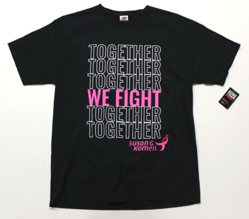 "Men/'s Susan G Black Komen /""We Fight Together/"" Pink Ribbon Tee T-Shirt"