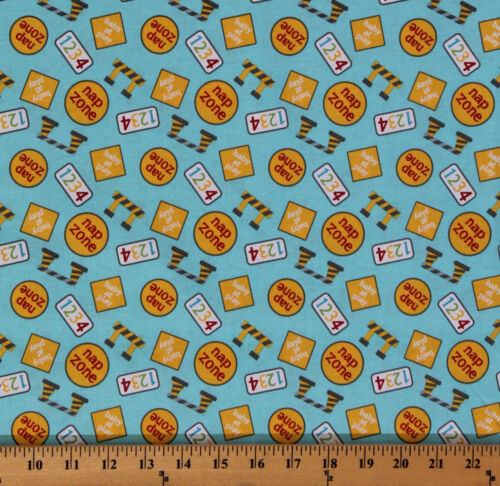 Cotton Baby Construction Zone Signs Numbers Nap Fabric Print by the Yard D478.09