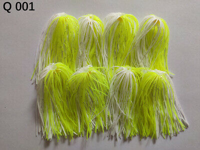 8 Bundles 50 Strands Silicone Skirts Fishing Tackle Buzz Spinner Jig Bass Q 12