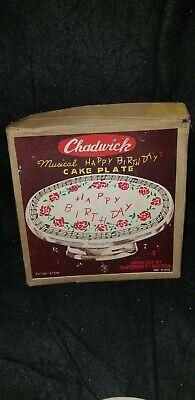 Stupendous Vintage Chadwick Musical Happy Birthday Cake Plate In Box Ebay Birthday Cards Printable Trancafe Filternl