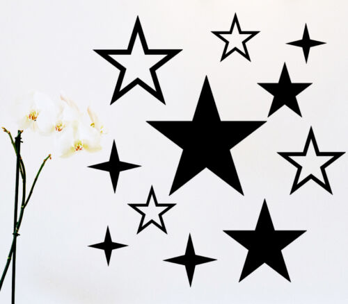 11 Sterne Star Aufkleber Sticker Wandtattoo Wandaufkleber Wandsticker Wohnzimmer