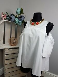 f817ca95d1f305 Image is loading ASOS-Cotton-Swing-Top-with-Cold-Shoulder-amp-